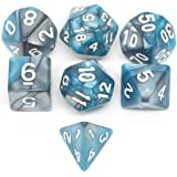 LZWIN 7 Die Gemini Polyhedral Dice Set with Portable Velvet Pouch (Blue & Silver)