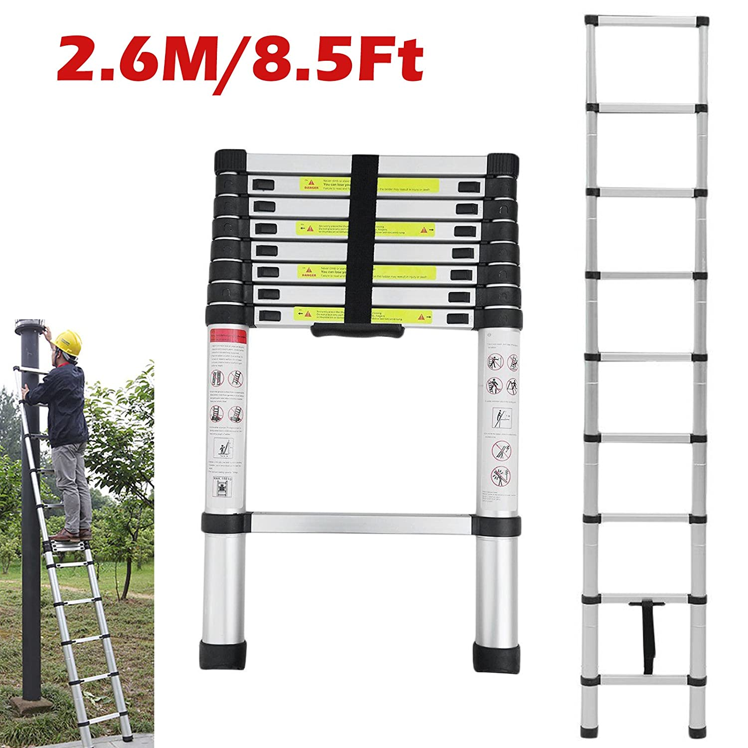 Expandable Step Ladder 2.6M / 8.5ft Aluminium Ladders Telescopic 9 Step Save Space Easy to Carry Lightweight Extending for Loft Attic Home Office Indoor Outdoor Roof Garden Work dicn factory
