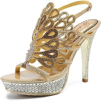 Femme Stiletto Haut Talon Sandales Strass Strass Parti Chaussures à lanières taille