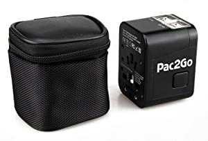 Pac2Go Universal Travel Adapter with Quad USB Charger - All-in-One Surge/Spike Protected Electrical Plug with Fast Charging USB Ports, International Power Socket Works in 192 Countries - 4XUSB-A