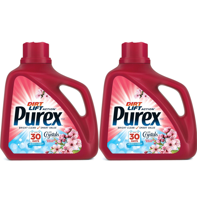 Purex 150 Fl Oz, 100 Loads Liquid Laundry Detergent with Crystals Fragrance, Fresh Cherry Blossom 2-Pack