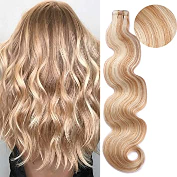 BESFOR Tape in Hair Extensions Balayage Hair 27 Honey Blonde Fading to  613 Bleach Blonde