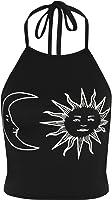 WearAll Women's Sun Moon Print Halter Neck Tied Crop Vest T-Shirt Top