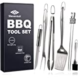 Heavy Duty BBQ Grilling Tool Sets, Extra Thick Stainless Steel Spatula, Tongs, Fork, Basting Brush, Knife and Skewers, Gift B