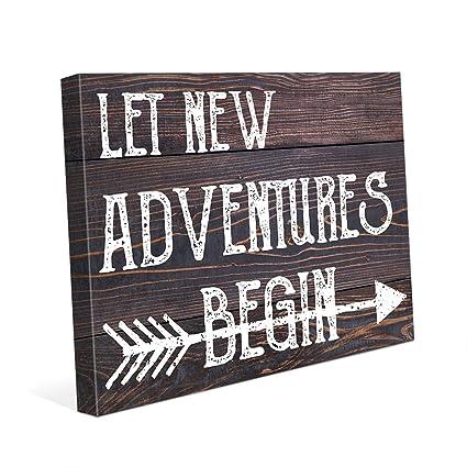 Amazoncom Let New Adventures Begin White Fun Happy Saying Quote