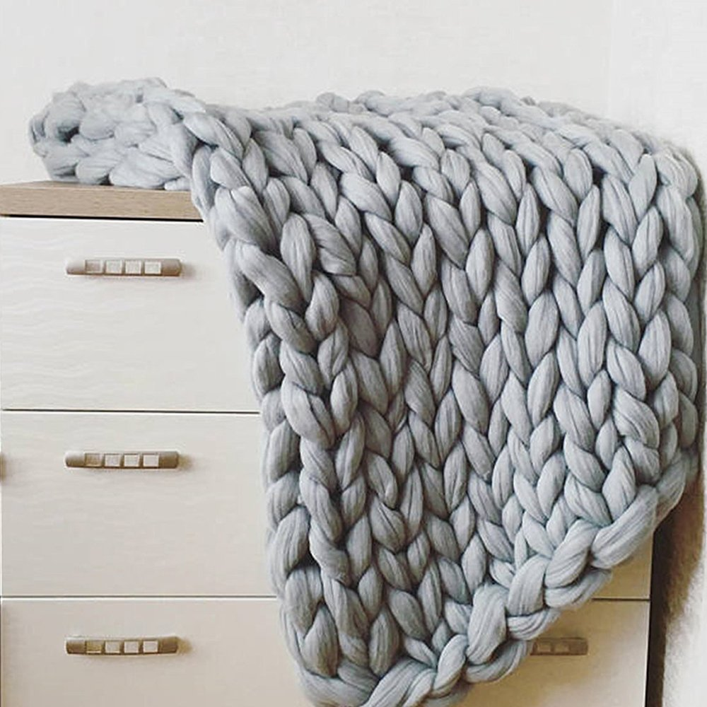 79x79in(200x200cm) Chunky Knit Blanket,Blanket,Chunky Knit Throw King Queen Size,Chunky Throw,Chunky Blanket,Giant Knit Blanket,Knitted Blanket,Arm Knitted Blanket by Cozy Chunky Blanket (Image #7)
