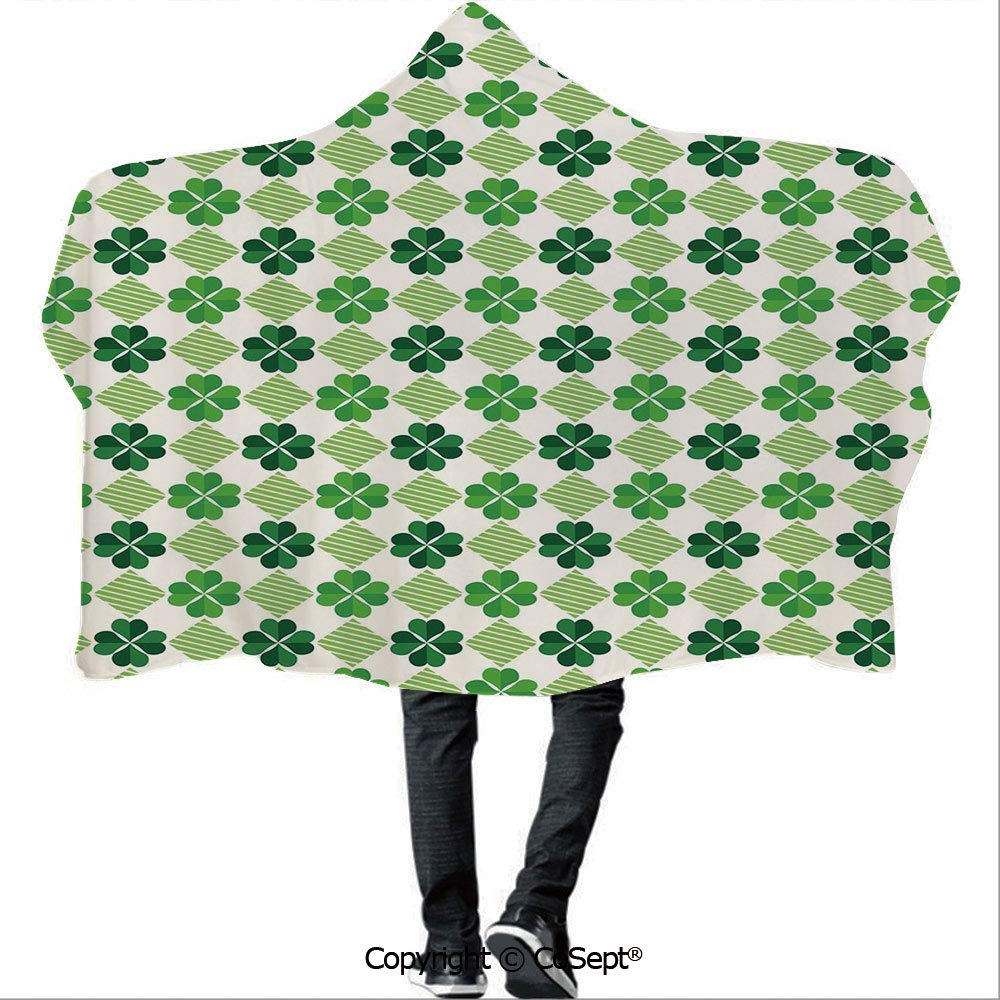 AmaUncle Hooded Blankets,Traditional Flowers Modern Design Low Poly Effects Symmetry Geometrical Decorative,Camping Indoor Outdoor Travel(59.05x51.18 inch),Green Dark Green White by AmaUncle