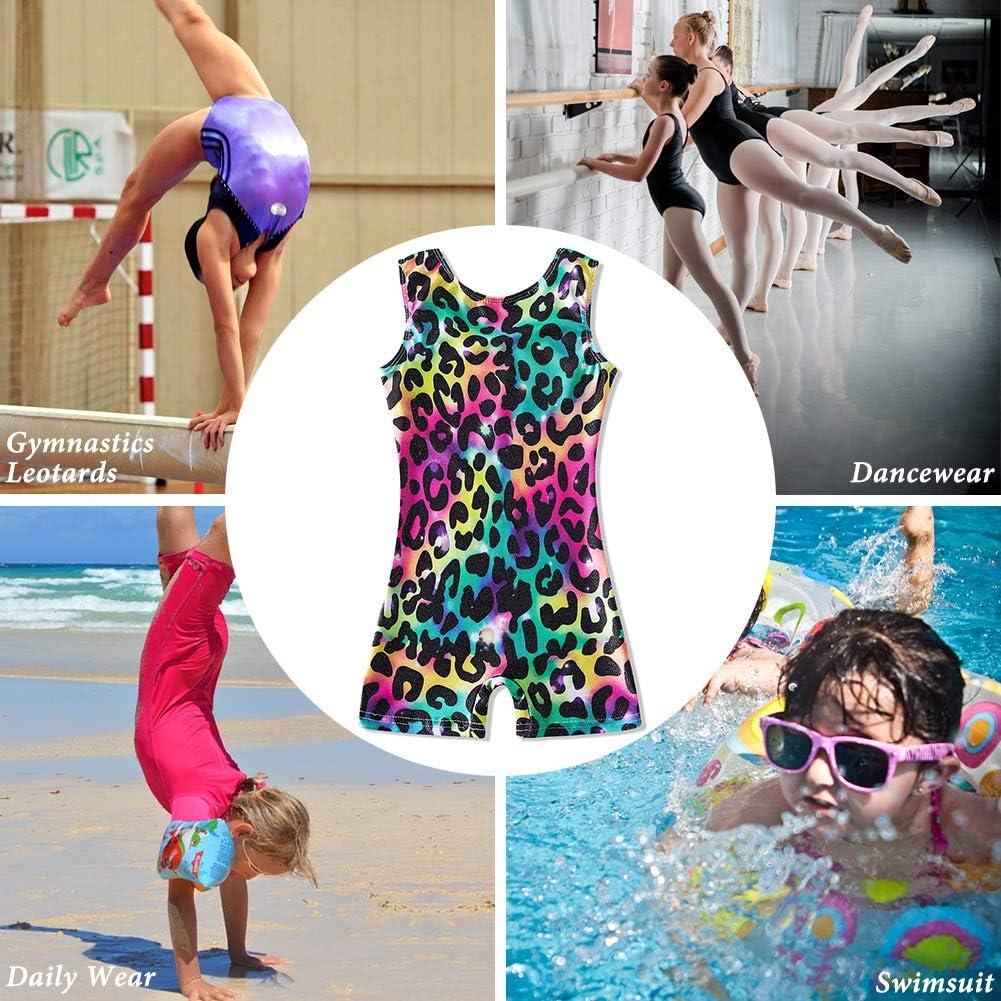 TUONROAD Girls Gymnastics Leotards with Shorts Dance Ballet Unitard Sparkly Biketard for 2-10T