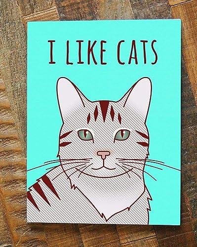 Amazon Com Cute Cat Illustration Art Greeting Card I Like Cats Handmade