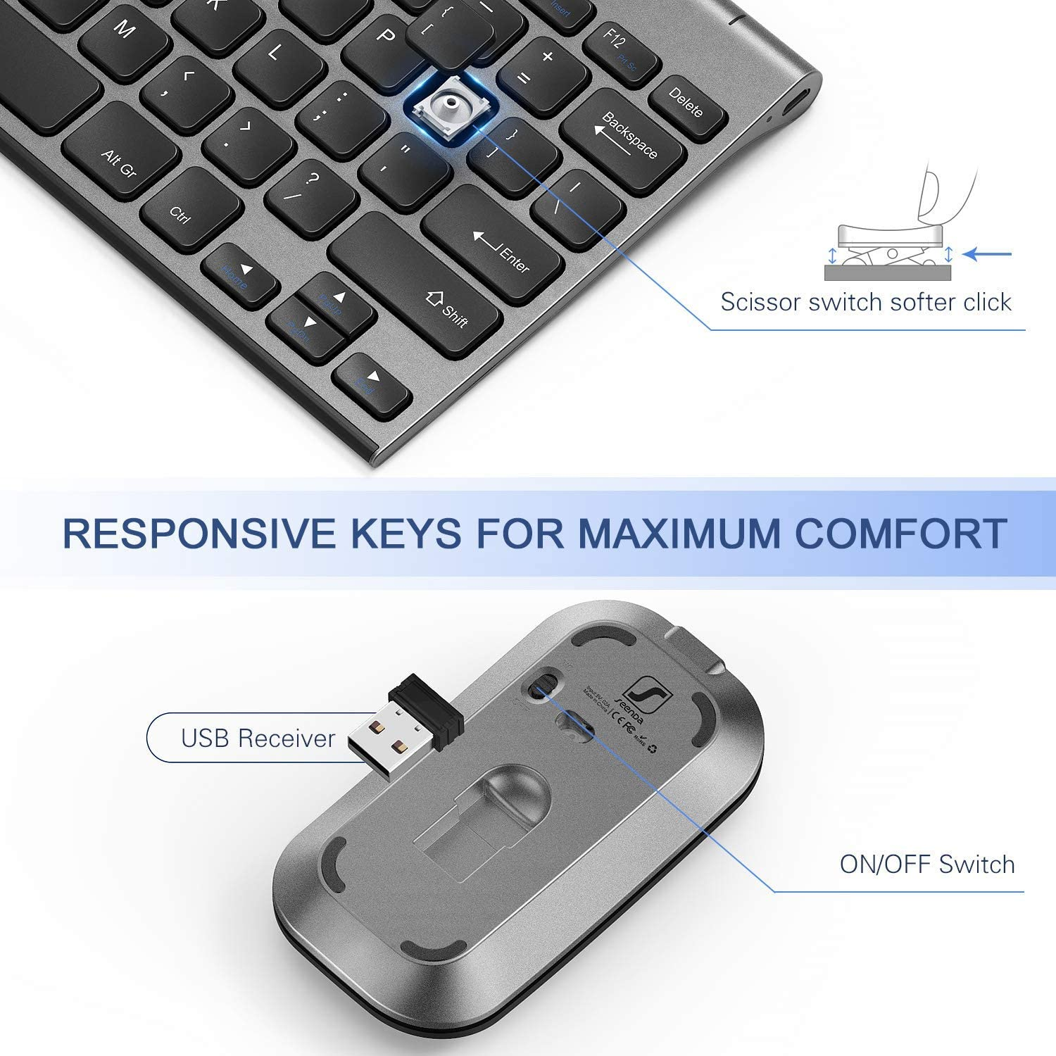 Black Wireless Keyboard and Mouse Combo seenda Low Profile Small Rechargeable Wireless Keyboard and Mouse for Windows Devices