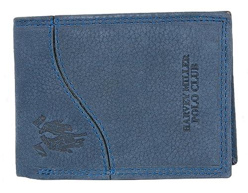 18a2f000436 HARVEY MILLER POLO CLUB - Cartera para hombre de Cuero Hombre Azul azul One  Size  Amazon.es  Zapatos y complementos