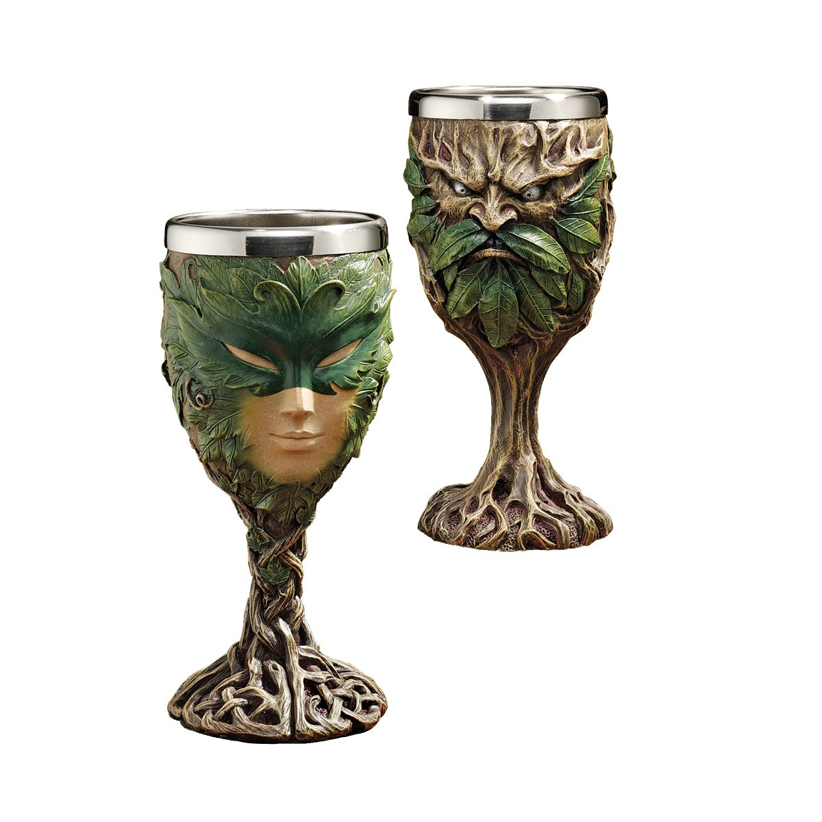 Design Toscano Forest Spirits Greenman Goblet Collection: Grendal The Green & Lady of The Leaf