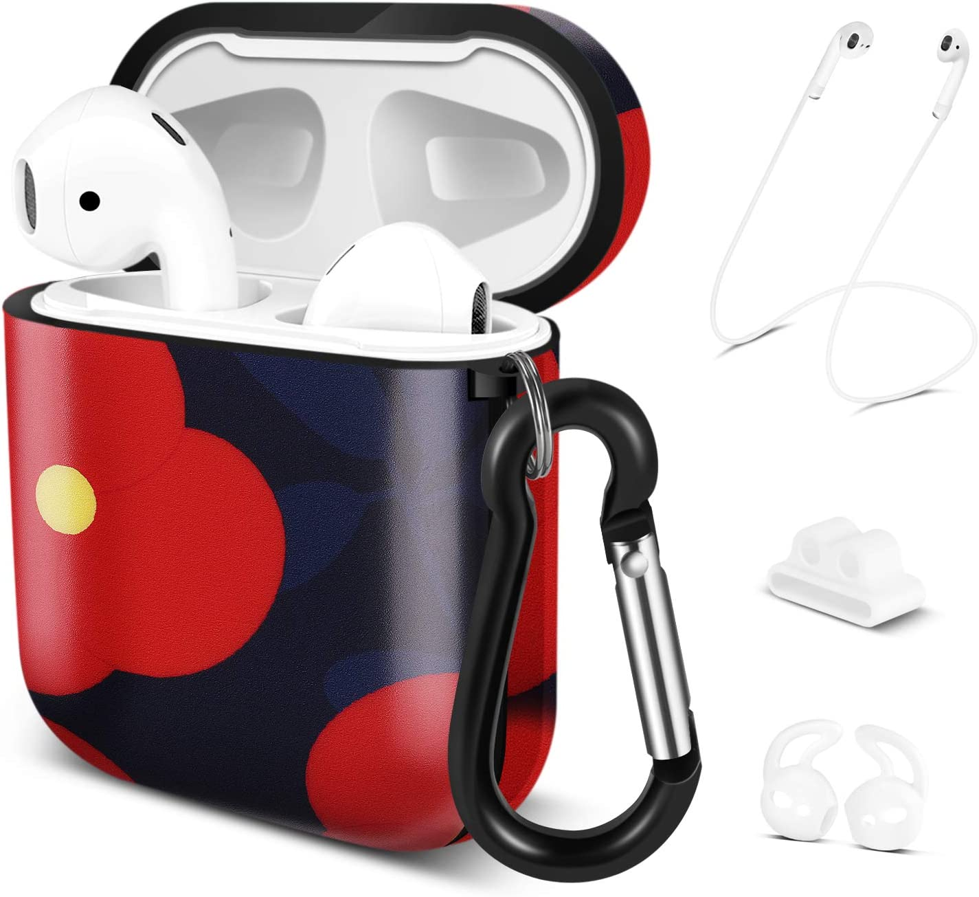 TNP Protective Case Cover Compatible for Apple AirPods 2/1 (Red Flower), Shock Resistant Cute Skin 5-in-1 Accessories Kit w/Carabiner Keychain, Airpods Strap, Ear Hooks, Watch Band Holder
