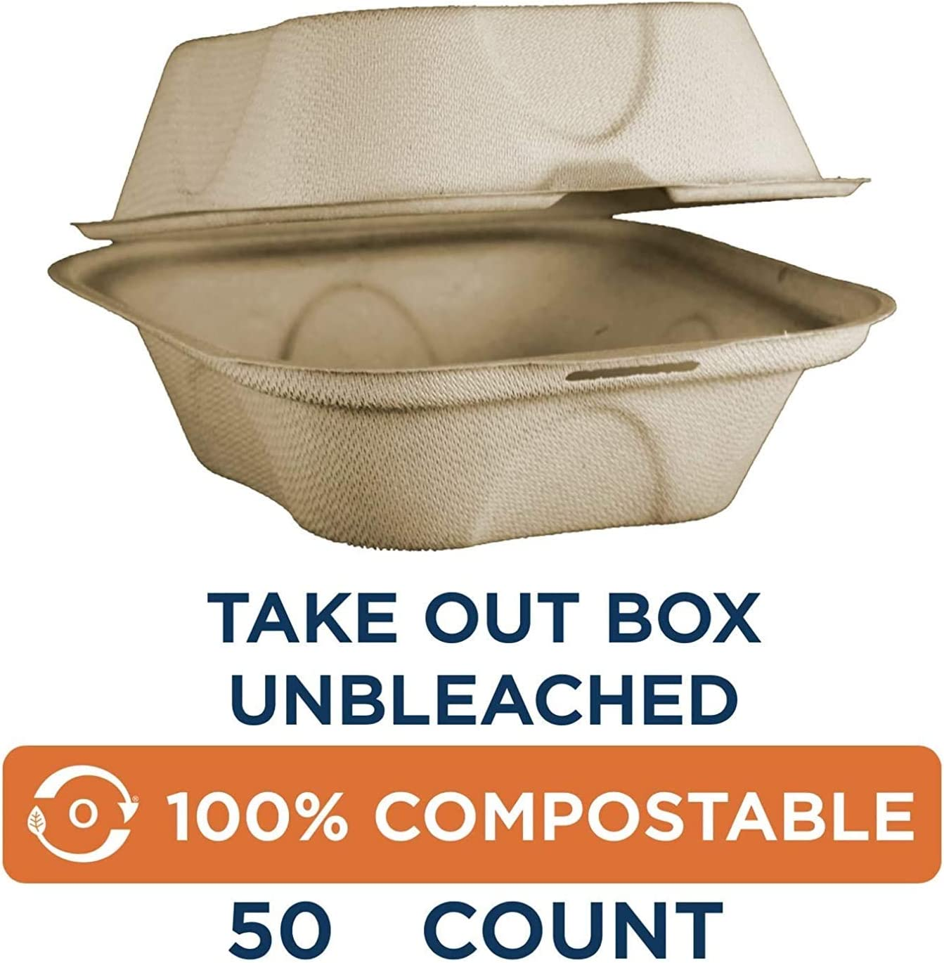 Pack of 500 World Centric TO-SC-U15B 100/% Compostable Unbleached Plant Fiber Burger Box Take Out Containers 6 x 6 x 3