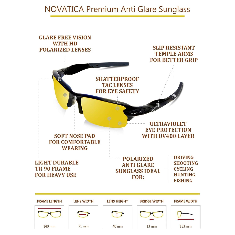 b62fbfeb7b Amazon.com  NOVATICA Anti Glare Night Driving Polarized TAC Glasses - HD Night  Vision - UV Protection - Sport Sunglasses - Men   Women - Yellow TAC Clear  ...