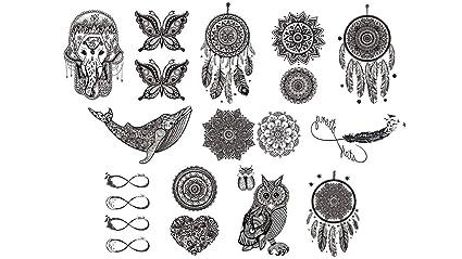 Mandala - Juego de 12 tatuajes con diseño de elefantes y mariposas ...