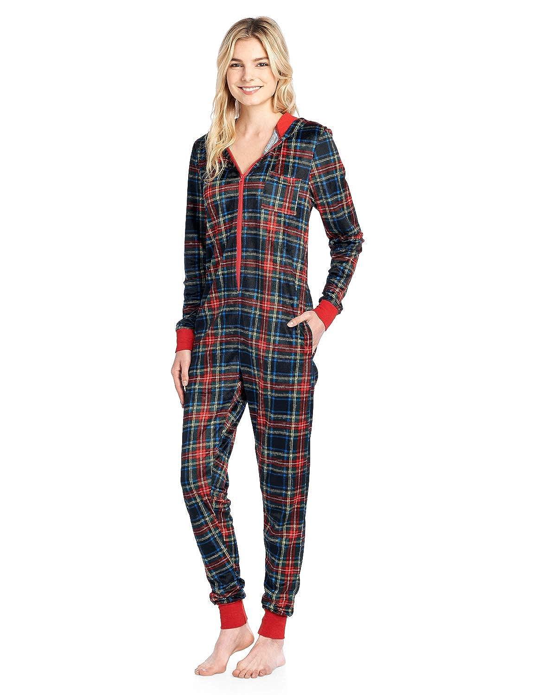 069e7d761db1 Amazon.com  Ashford   Brooks Women s Fleece Hooded One Piece Pajama Union  Jumpsuit  Clothing