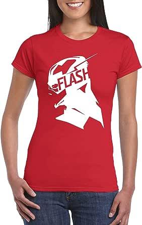 Red Female Gildan Short Sleeve T-Shirt - The Flash Side Bust design