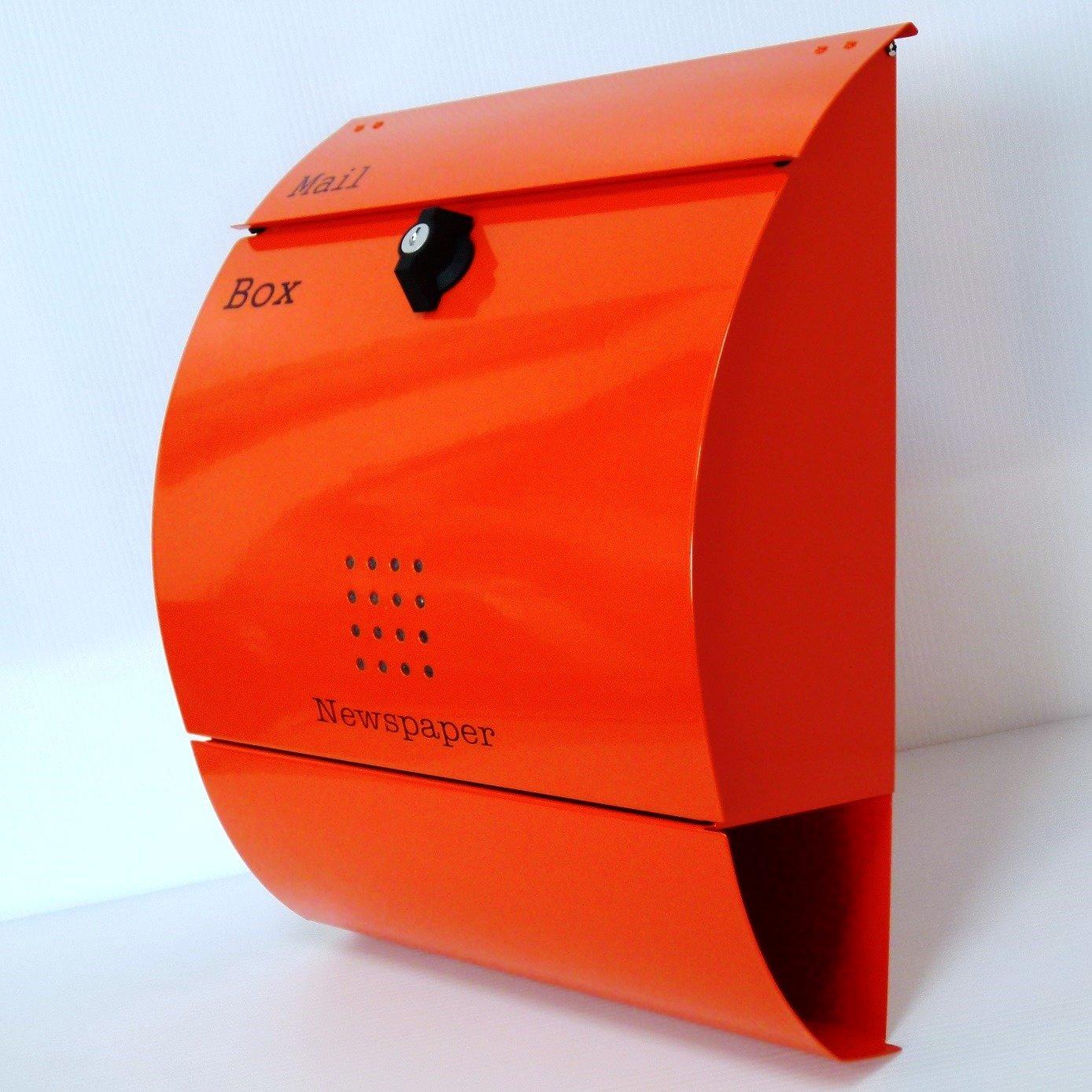 郵便ポスト 郵便受け 大型メールボックス壁掛けオレンジ色 プレミアムステンレスポストpm035 B01N75EWR6 12880
