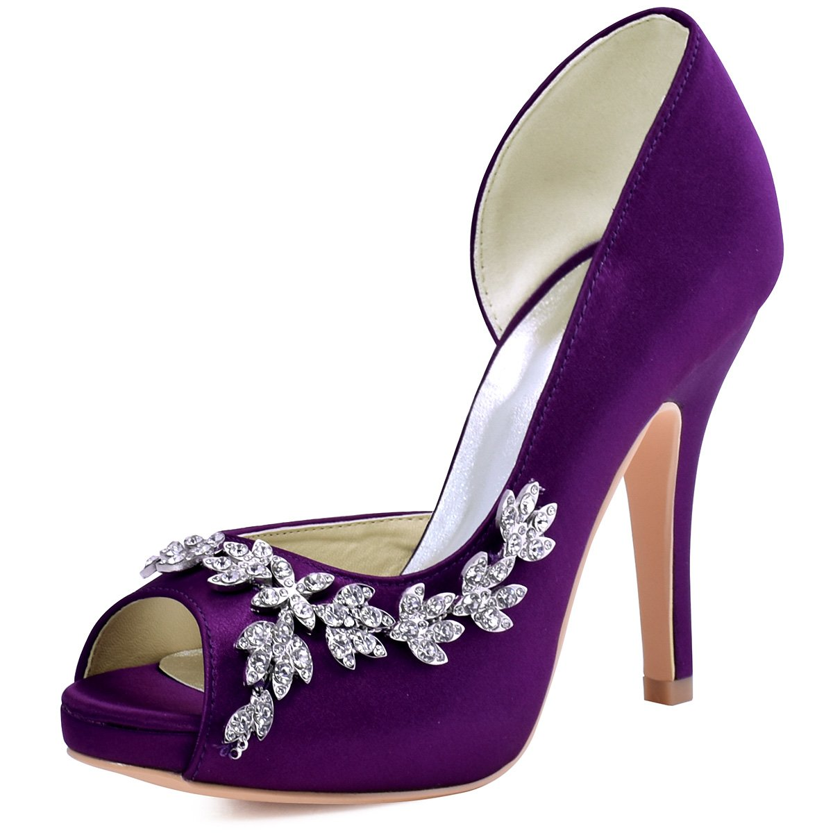 ElegantPark HP1560IAC Women's Peep Toe Platform High Heel Rhinestones Satin Wedding Party Dress Shoes Purple US 8