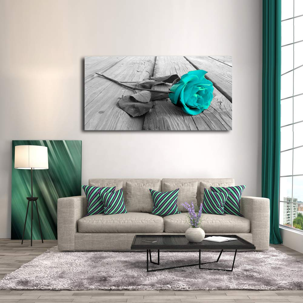 Cao Gen Decor Art-H42250 Black White Teal Rose Floral Modern Flower Prints Decorative Stretched and Framed Canvas Paintings Ready to Hang for Home
