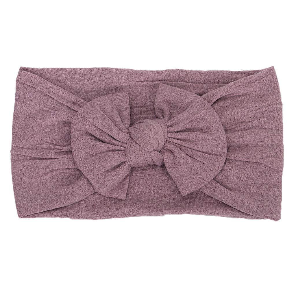 FDSD Women Maternity Clothes Newborn Hat Soft Turban Baby Girls Headbands Bowknot Flower Soft Hair Accessories (Gray)