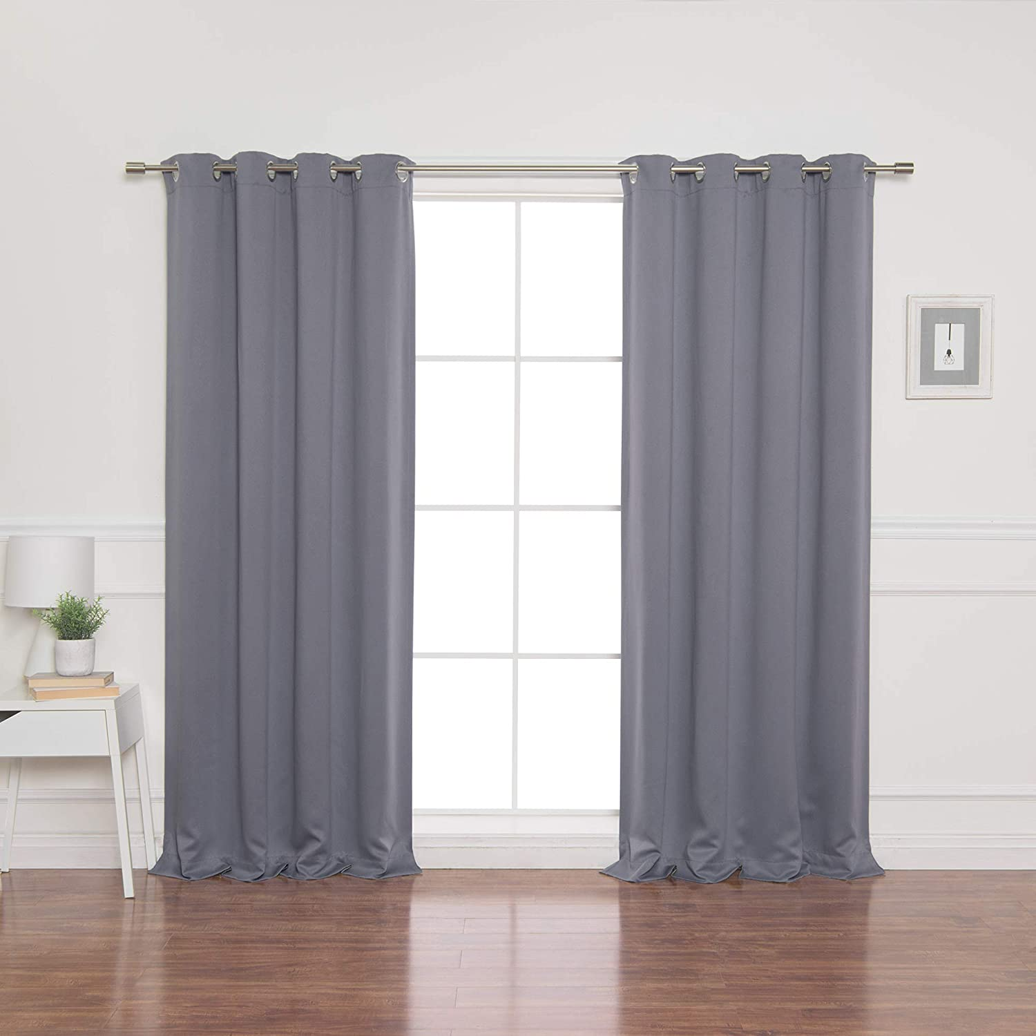 "Best Home Fashion Thermal Insulated Blackout Curtains - Stainless Steel Nickel Grommet Top - Grey - 52"" W X 96"" L - (Set of 2 Panels) …"