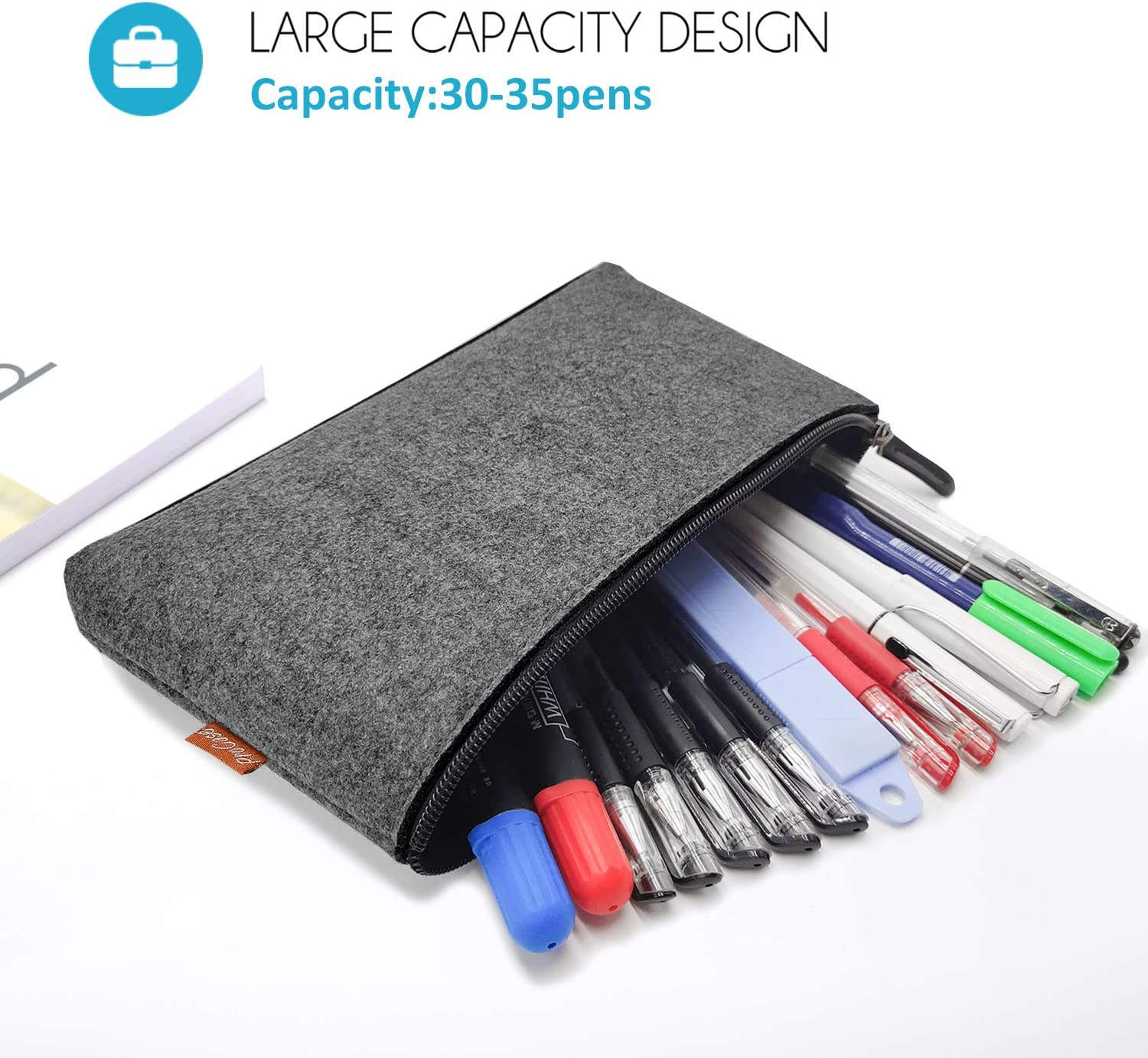 Gel Pen Pencils Grey Markers and other School Supplies -2 Pack Multi-Functional Felt Pouch Zipper Bag for Pens Highlighters ProCase Pencil Bag Pen Case