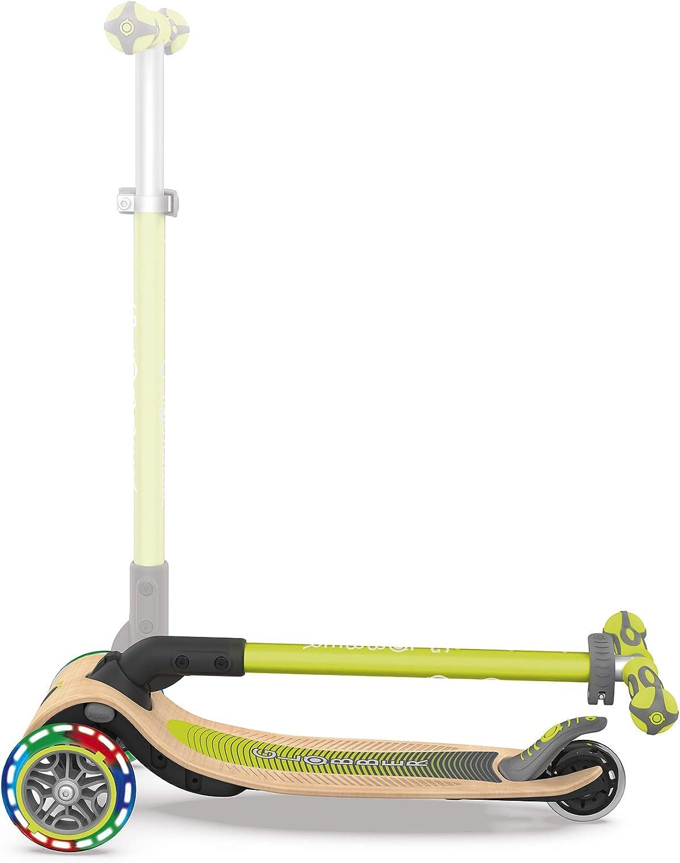 Globber Trottinette 3 Primo Foldable Wood Lights en Bois Pliable Roues Lumineuses Jeunesse Unisexe
