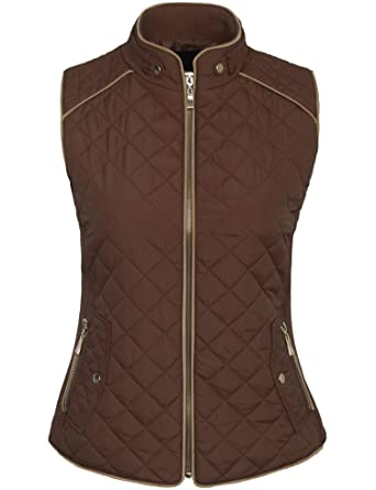 544cd56465f KOGMO Womens Quilted Fully Lined Lightweight Zip up Vest S-3X-S-BROWN