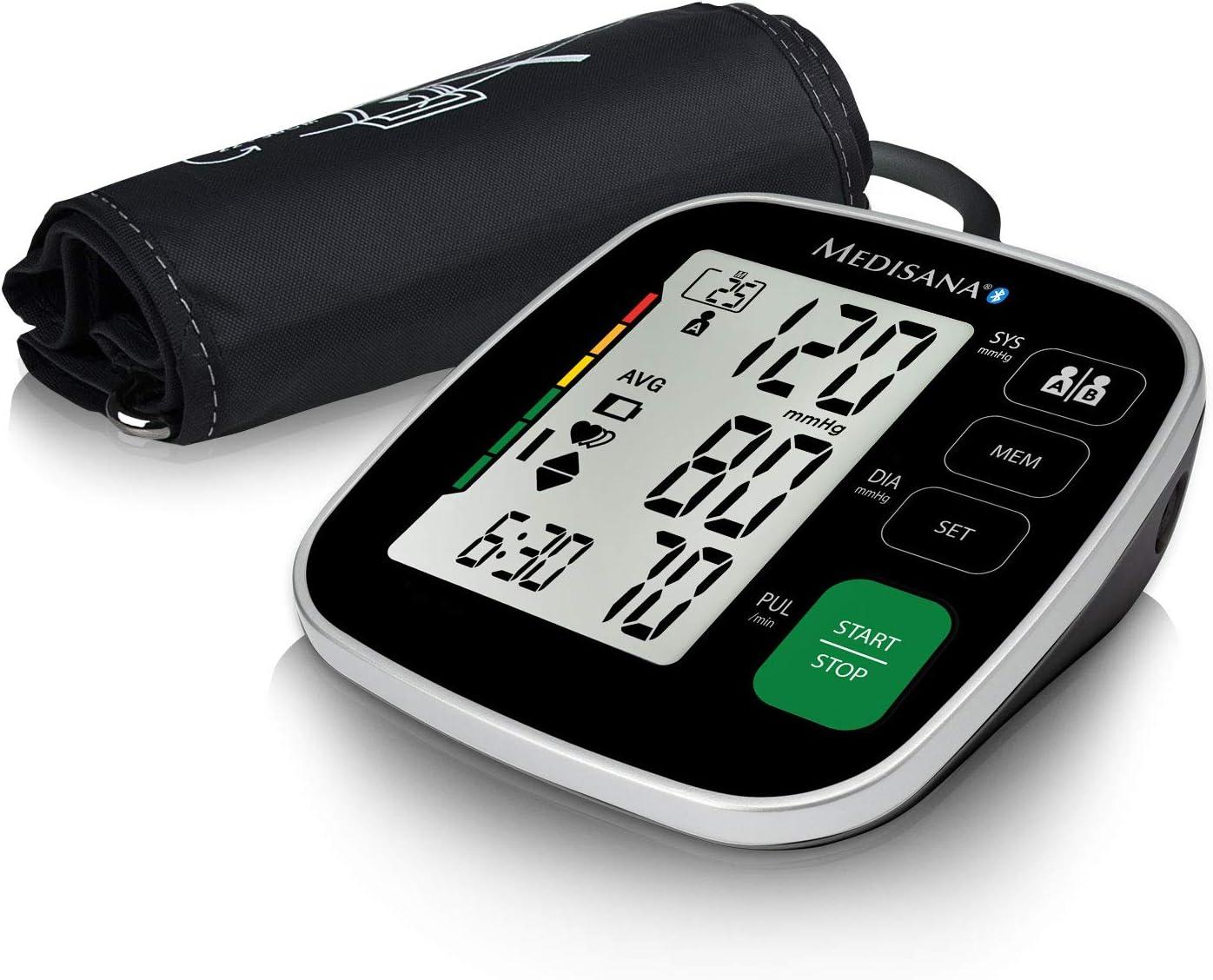 Medisana BU 546 connect Tensiómetro para el brazo con manguito grande, pantalla de arritmia, escala de colores de la OMS para una medición precisa de la tensión arterial y del pulso con app