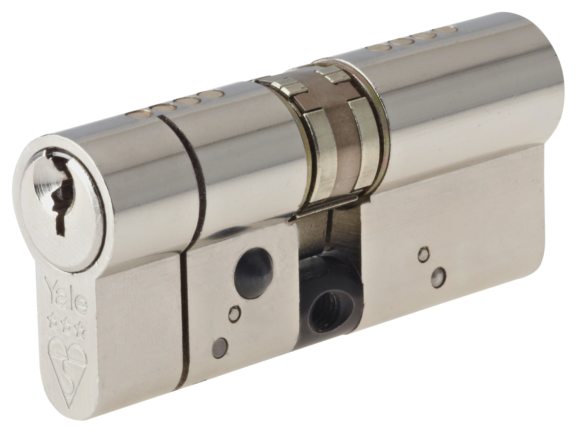 Yale Locks Anti-Snap Platinum Euro Cylinder 40/40 (80mm) Bright Nickel