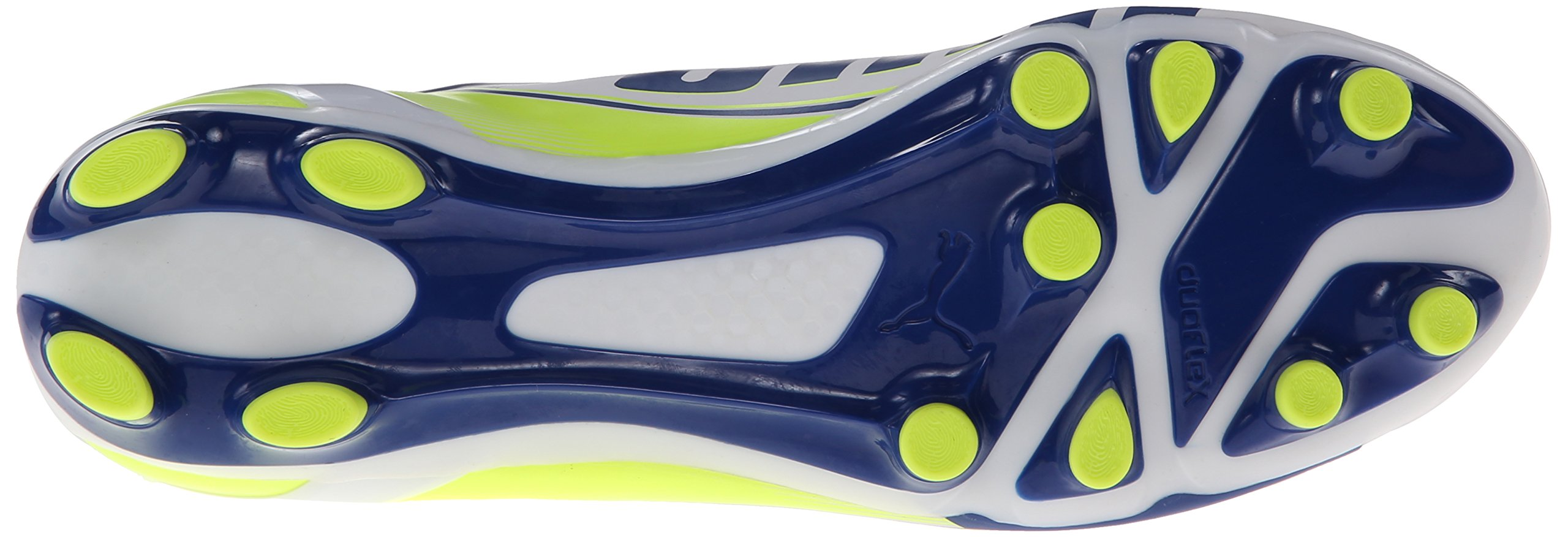 PUMA Women's Evo Speed 3.3 Firm Ground Soccer Shoe,White/Snorkel Blue/Fluorescent Yellow,8 B US by PUMA (Image #3)