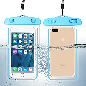 """2 Pack Waterproof Phone Case Universal Cellphone Dry Bag Pouch for iPhone 11/11 Pro/XS/XR/SE 2020, Galaxy S20+ up to 6.9"""", Durable Luminous Underwater Case Cover with Neck Strap for Pool Beach"""