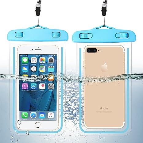Guzack Funda Impermeable, Universal Bolsa Funda Movil Agua IPX8 para Deportes Acuaticos para Iphone 6/6S/7/6 Plus/7 Plus, Samsung S6/Edge/S5/S4 hasta 6 pulgadas. (Azul, 2 Pack): Amazon.es: Deportes y aire libre
