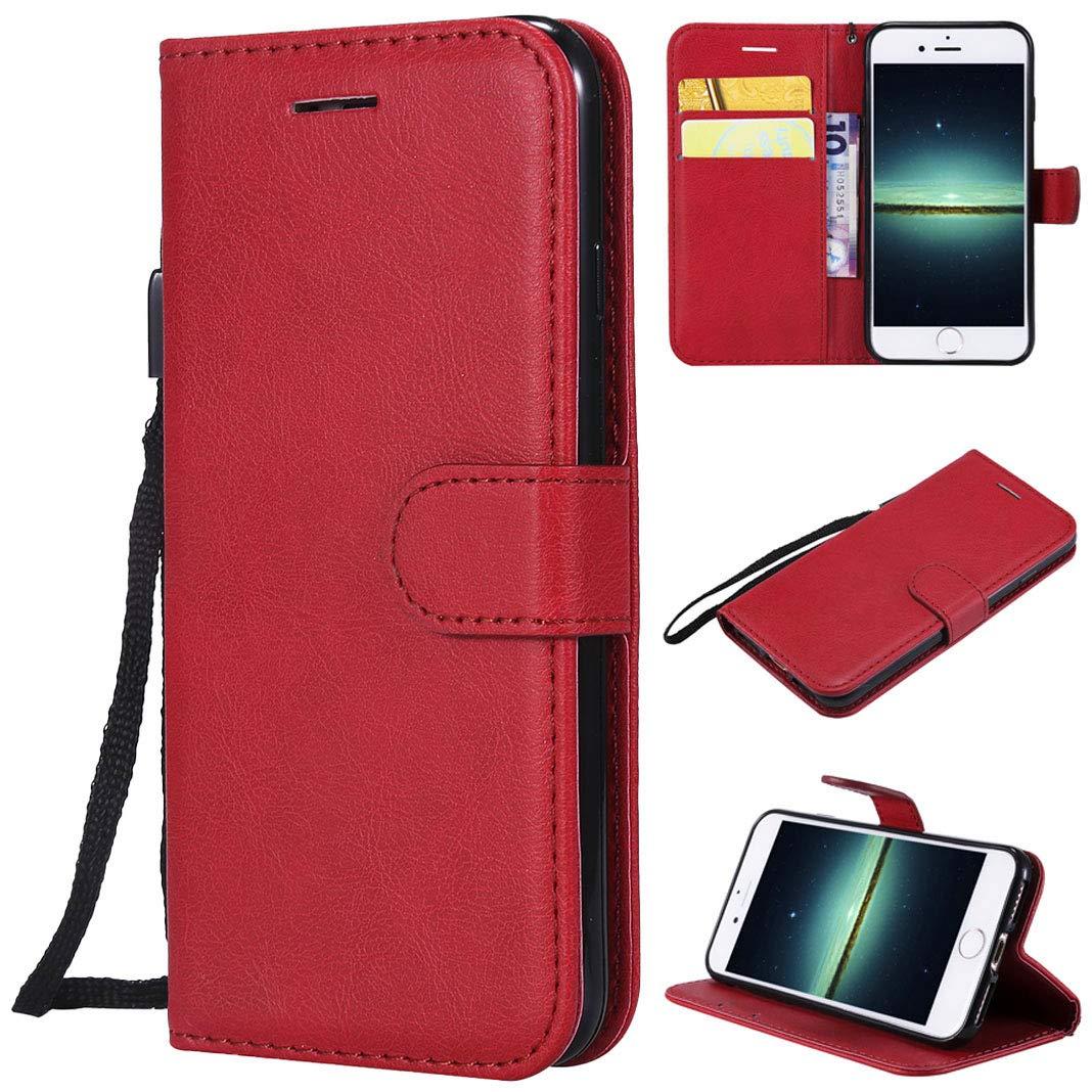 iPhone 8ケースレザーiPhone 7ケース、LolStore磁気レザーフリップケースビジネスウォレットハンドバッグカードスロットブックカバーのスタンド耐衝撃性の携帯電話ケースカバーケースfor iPhone 8/7レッドレッド   B07JJSVT99
