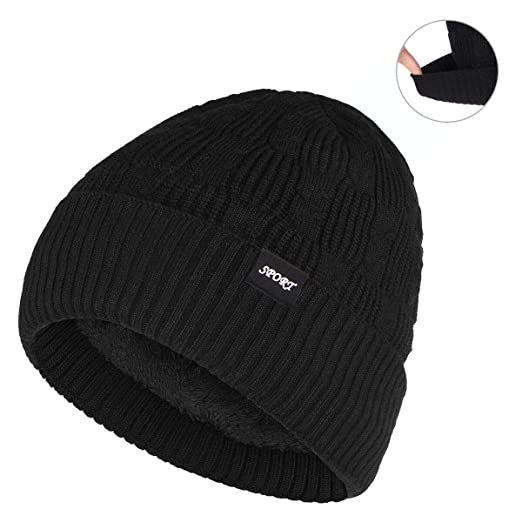 3216a5cd738 Bodvera Winter Warm Slouchy Beanie Hat Oversized Cable Knit Hat Thick Soft  Stretch Cuff Skull Cap