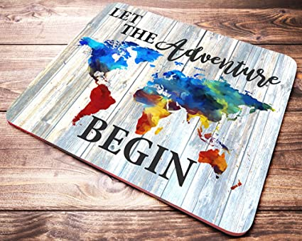 Amazon world map mouse pad let the adventure begin watercolor world map mouse pad let the adventure begin watercolor quote wanderlust mousepad desk accessories office gifts gumiabroncs Images