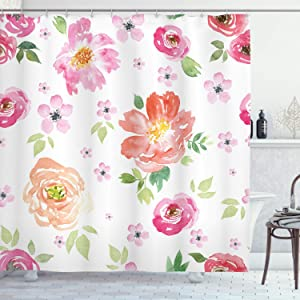Ambesonne Floral Shower Curtain, Shabby Form Garden Flowers Roses Tulips Watercolor Abstract Art, Cloth Fabric Bathroom Decor Set with Hooks, 70