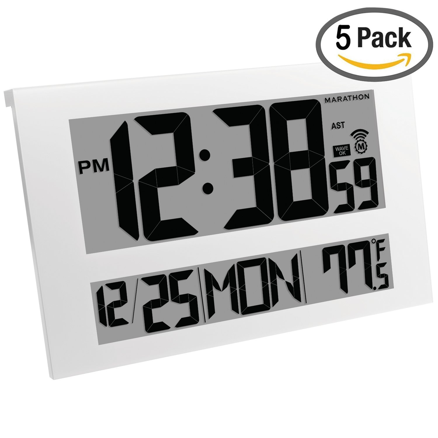 MARATHON CL030025WH/5 Commercial Grade Jumbo Atomic Wall Clock with 6 Time Zones, Indoor Temperature & Date, White (5 Pack)