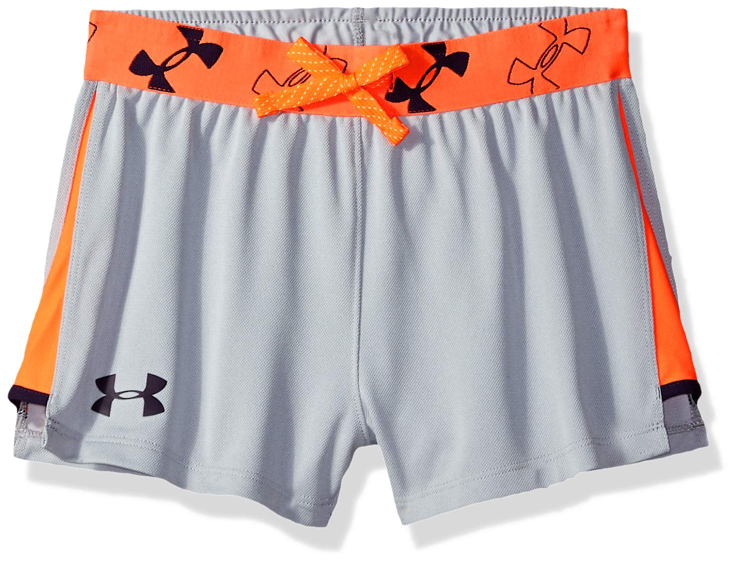 Under Armour Girls' Kick it Shorts, Overcast Gray Light (941)/Purple Switch, Youth X-Small