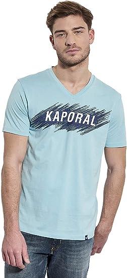 Kaporal T Shirt Inscription en Relief, Coupe Droite Mass