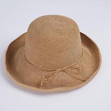 YXINY Viseras Sombreros Mujer Verano Sombra Sombrero De Paja Manual Tejido  Protección Solar Sombrero para El f2c138a9c33