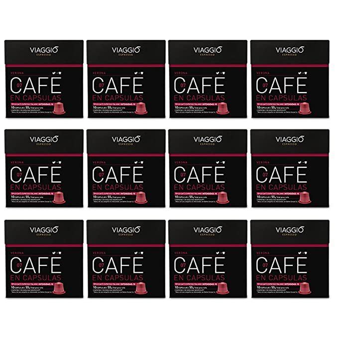 VIAGGIO ESPRESSO - 120 Cápsulas de Café Compatibles con Máquinas Nespresso - VERONA