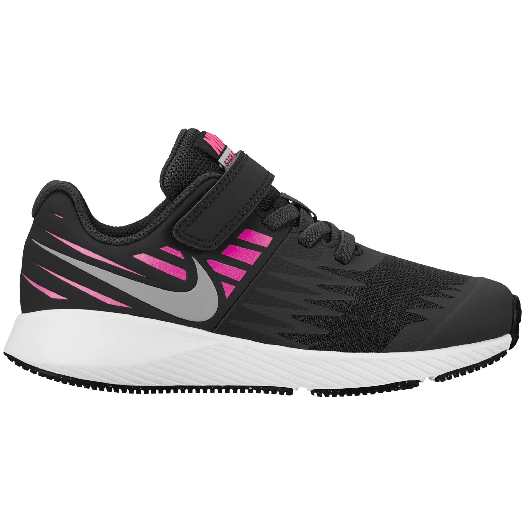 Nike Girl's Star Runner (PSV) Pre-School Shoe Black/Metallic Silver/Racer Pink/Volt Size 2 M US