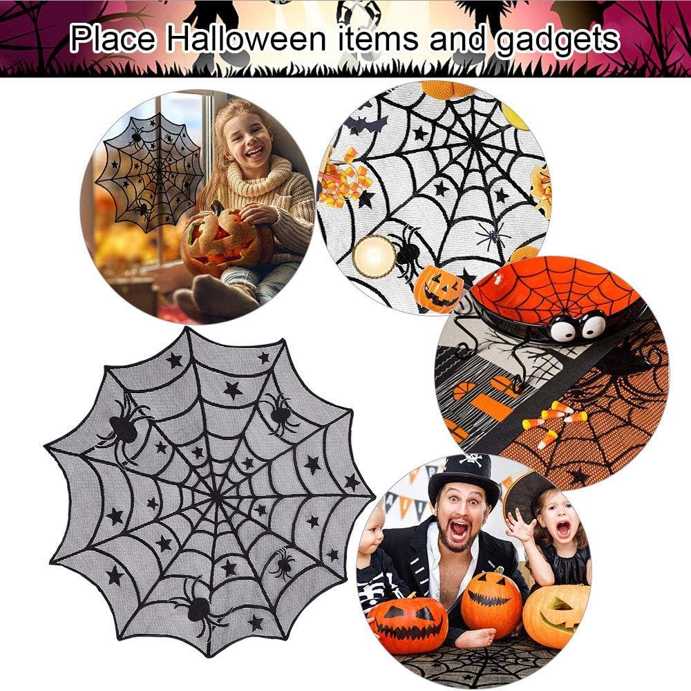 DECARETA Halloween Tischdecke Rund Schwarz Spinnennetz Spinnweben 102 cm Durchmesser Halloween Tischdeko Spinnen Netz f/ür Karneval Halloween Party Dekoration