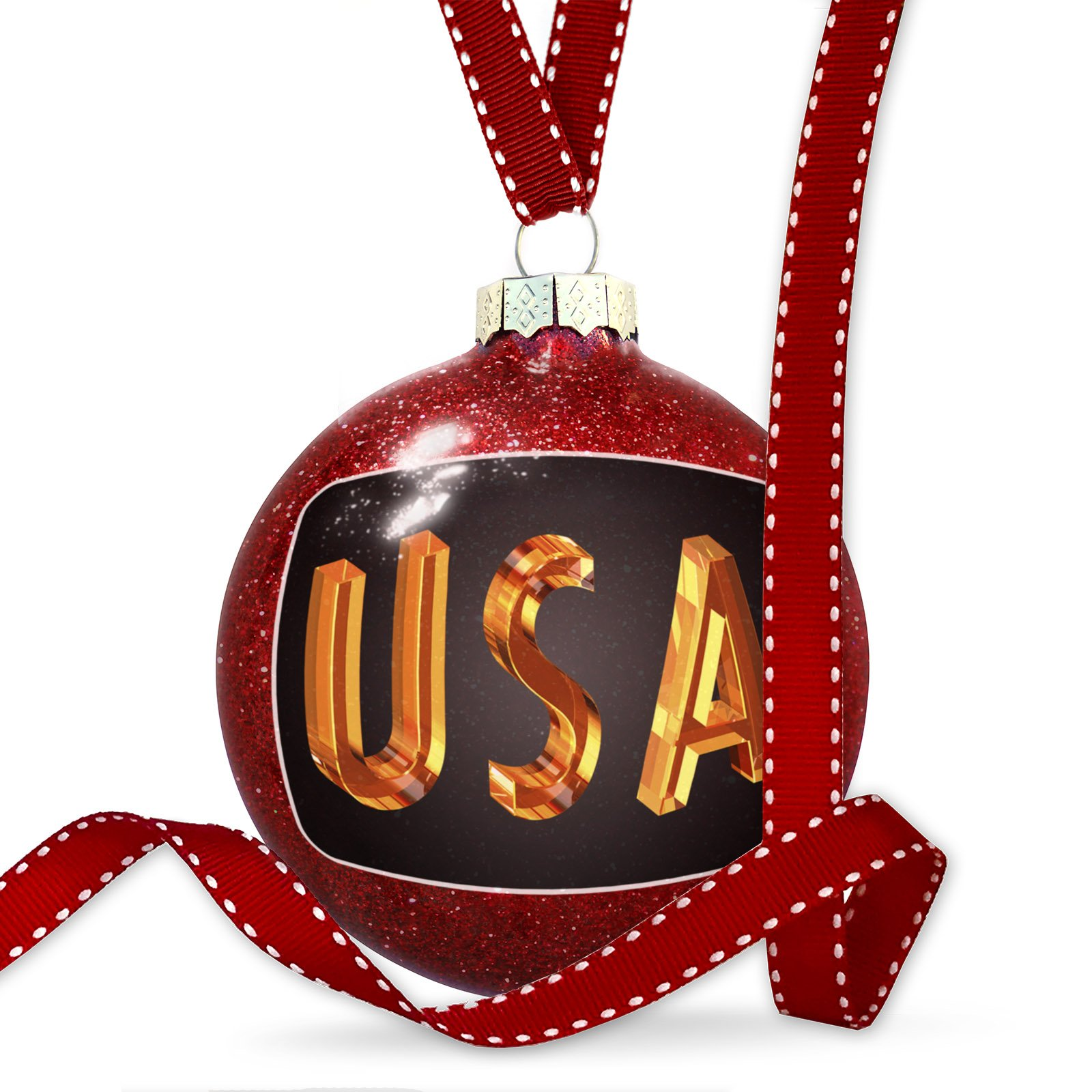 Christmas Decoration United States of America Cubik Glass Ornament