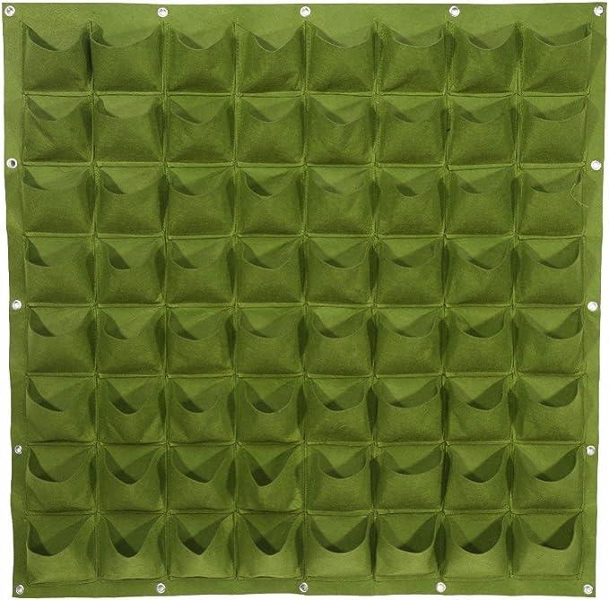 Jardin vertical de pared 64 bolsillos restaurantes terraza piscina salon comedor atico loft decoracion innovadora color verde y de 100 x 100 cm. de OPEN BUY: Amazon.es: Hogar