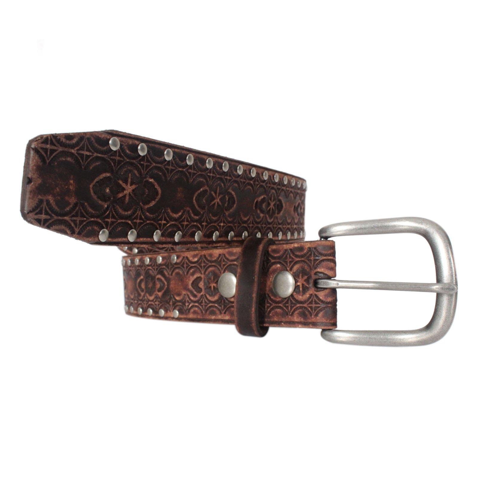 7P058-BRN Men Western Tooled Vintage Studded Leather Belt (36)