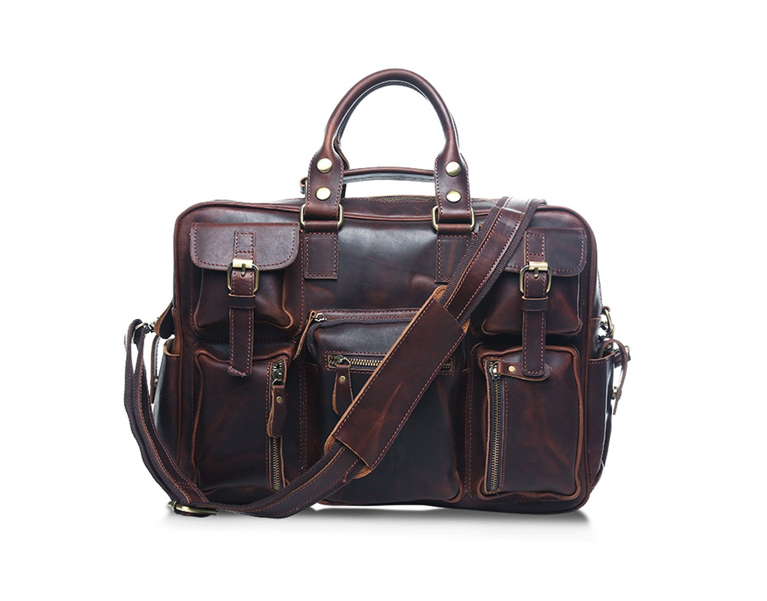 Genuine Leather Professional Look Briefcase Bag for 19 inch laptop (Dark